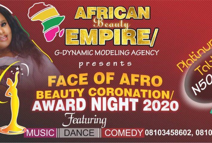 Face Of Afro Beauty Coronation/ Award Night 2020